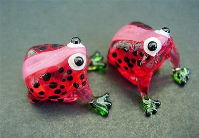 2 Tiny Glass FROGS Red & Black Spotted Glass Ornaments Glass Animal Figures Gift