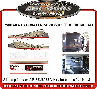 YAMAHA 200 OX66 V6 Saltwater Series II Outboard Decals Reproductions 115 150 250