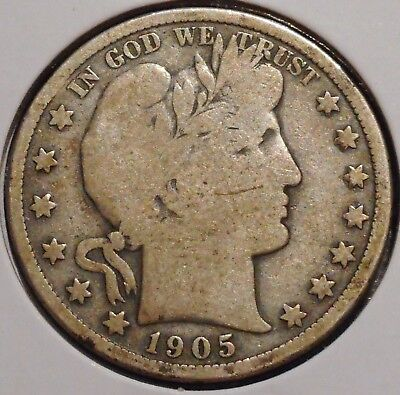 Barber Half - 1905 - Historic Silver! - $1 Unlimited Shipping
