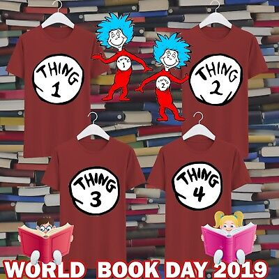 Thing 1 & 2 Cat in The Hat World Book Day CMA136 Kids & Adults Red T Shirt