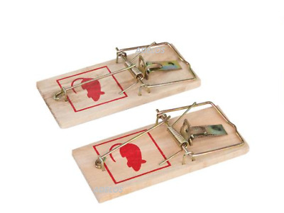 4x Traditional Wooden Mouse Traps Classic Mice Rat Pet Rodent Control Catch Trap