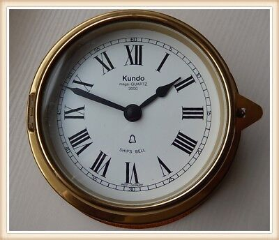 Superb Kundo 8 Bells  Brass Case Ships's clock. Fully working 2912