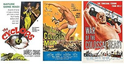 Amazing Colossal Man 1957 ,war Of The Colossal Beast, 1958 Cyclops 1957 Giants!