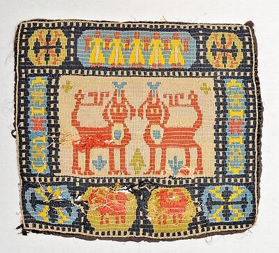 EARLY 1800s ANTIQUE NORTH GERMAN EMBROIDERY TEXTILE PILLOW COVER RUG MAT