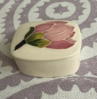 Moorcroft Pink Magnolia on Ivory Trinket Box