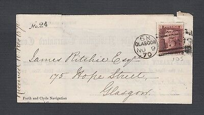 UK 1870/5 SCOTLAND THREE PERFORATED PENNY RED FLs GLASGOW #159 LOCAL & TO DUNDEE