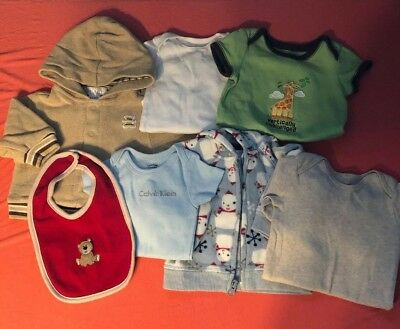 0-3 Month Lot Of Baby Boy Clothes 7 Pieces Childrens Place Calvin Klein Lot #2