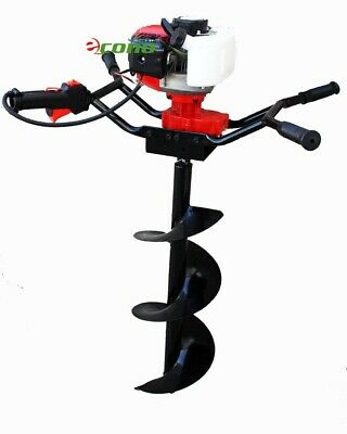 """Two Man Post Earth Hole Digger Drill Planting 52cc  Gas Engine w/ 10"""" Auger Bit"""