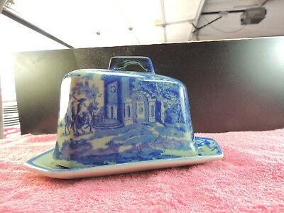 Vintage Blue and White China Willow Pattern Butter Dish  Beautiful Scenery