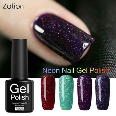 Zation Neon Pigment Glitter Sticker Shining Gel Nail Polish Base and Top Needed