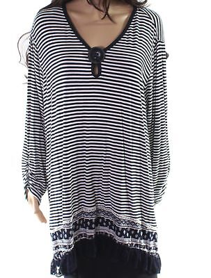 c6aa839944a62 Ali Miles NEW Blue Women s Size 3X Plus Striped High Low Tunic Top  74  834