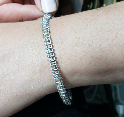 Round Natural Diamond Tennis Bracelet - 14k White Gold - 1.00cttw - Wire style