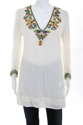 a2733832cce79 French Connection Off White Silk Bead Embellished V Neck Tunic Top Size 6