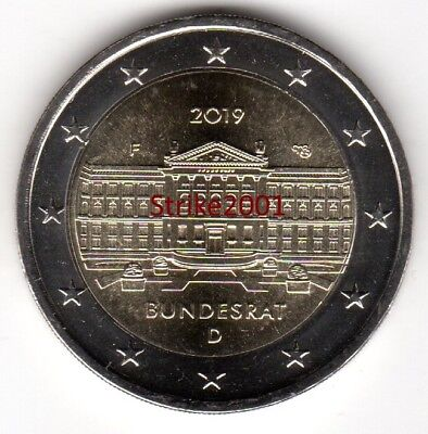 NEW !!! 2 EURO COMMEMORATIVO GERMANIA 2019 70° Anniversario BUNDESRAT NEW !!!