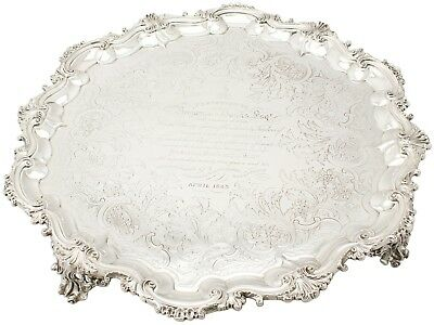 Antique Victorian English Sterling Silver Salver