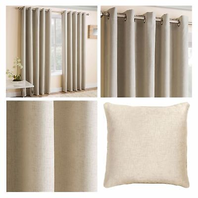 Cream Eyelet Curtains Thermal Block Out Energy Saving Ring Top Curtain Pairs