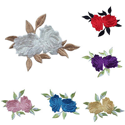 Rose Flower Leaves Embroidery Iron On Applique Patch  abordada apliques ca