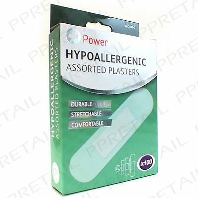 100 x HYPOALLERGENIC ASSORTED PLASTERS Flexible Wound Cut Cover Allergy NEW
