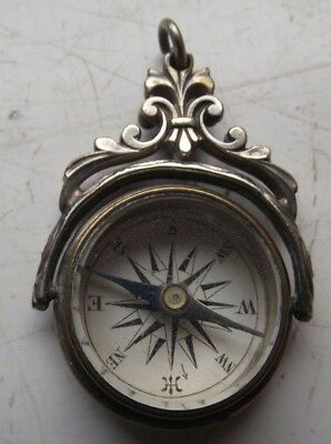 Antique Pocket Watch Chain Spinning Compass Fob Excellent See Pictures
