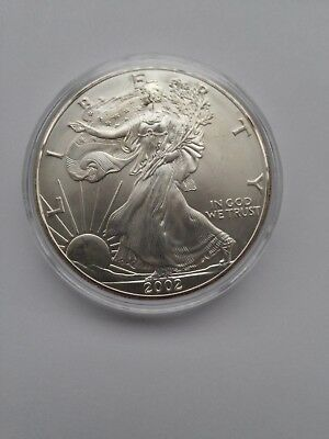 2002 1 oz Silver American Eagle BU with Toning in Airtite Capsule