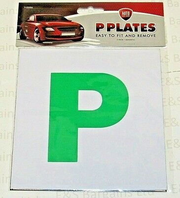 2 x Magnetic Driver P Plate Car Learner Just Passed Vinyl Legal Signs NEW