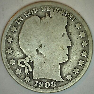 1908 D Barber Silver Half Dollar 50 Cent US Type Coin AG Almost Good K55
