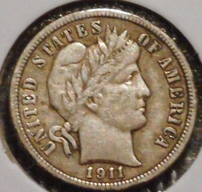 Barber Dime - 1911 - Historic Silver! - $1 Unlimited Shipping