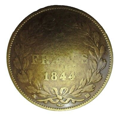 Badge broche 5 Francs 1844 métal coulé pins plaque vis métallique Cast Metal