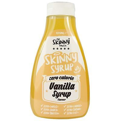 Skinny Foods Vanilla Sauce Syrups Low Carb Sugar Fat Free Zero Calorie 425ml