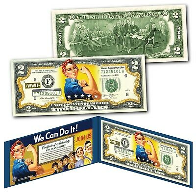 ROSIE THE RIVETER We Can Do It WWII Icon American feminism Genuine  U.S. $2 Bill