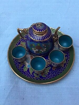 Vintage Cloisonne Miniature Teaset (Tray, Teapot & 4 Beakers) Enamel On Brass