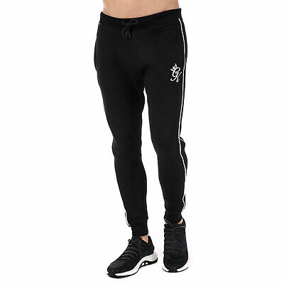 2775ed86 MENS GYM KING GK Retro Tracksuit Bottoms in Grey and Black Slim fit ...