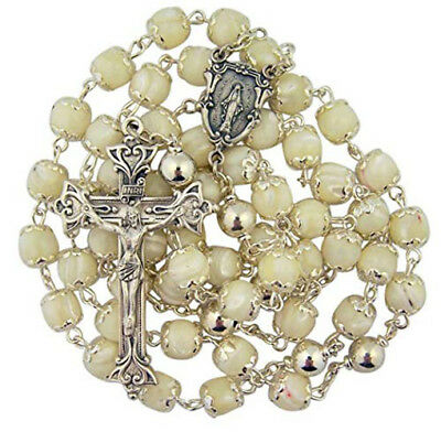 Ivory Pearl Tone Bead Rosary with Round Miraculous Medal Centerpiece, 22 Inch