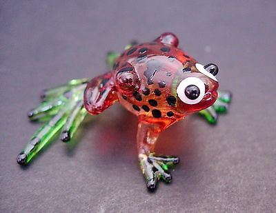 Glass FROG Brown & Black Spotted Frog Painted Glass Animal Glass Ornament Gift