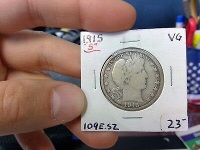 1915 S 50C Barber Half Dollar 90 % Silver US Coin Very Good Fine VG/Fine