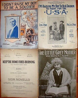 Antique Lot of 4 WW1 Patriotic & Military large format sheet music Home-Fires