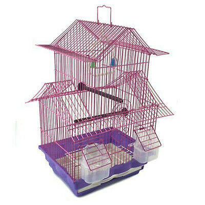 Bird Cage House Style - Pink - Starter Kit, Swing Perch Feeders - Two Story