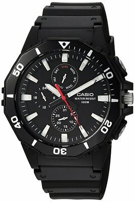 Casio Men's Sports Quartz Black Resin Band Multifunction Analog Watch MRW400H-1A