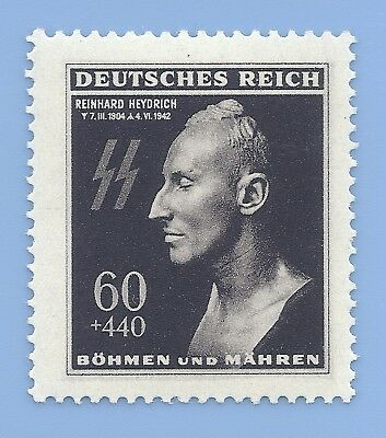 Germany Third Reich Nazi B&M Heydrich Death Mask 60+440 Stamp MNH WW2 Era
