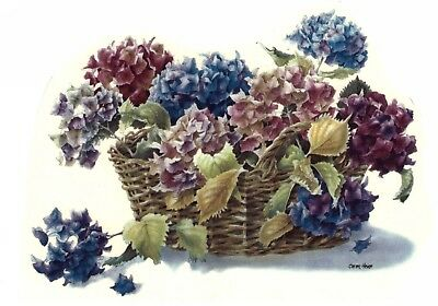 "Hydrangea Flower Basket 1 pc 11"" X 8"" Waterslide Ceramic Decal Xx"