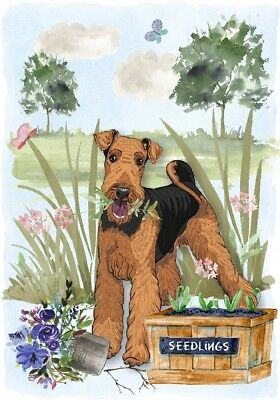 """Airedale Terrier Dog (4"""" x 6"""") Blank Card / Notelet Design By Starprint"""