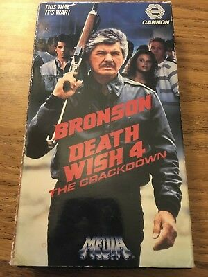 Death Wish 4: The Crackdown (VHS,1987) Charles Bronson *Media, Cannon Video*