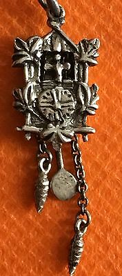 Cuckoo Clock Charm - 800 Silver 3D Moving Parts Bird Floral Pendant 1.89g