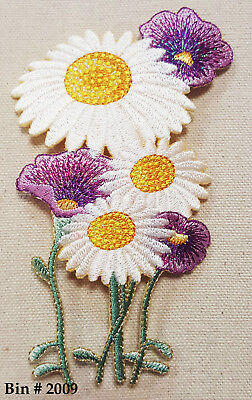 1pc WHITE / YELLOW  DAISY & Sparkly Purple FLOWER IRON ON EMBROIDERED APPLIQUE