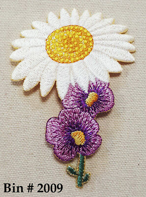 Spring WHITE / YELLOW  DAISY Sparkly Purple FLOWER IRON ON EMBROIDERED APPLIQUE