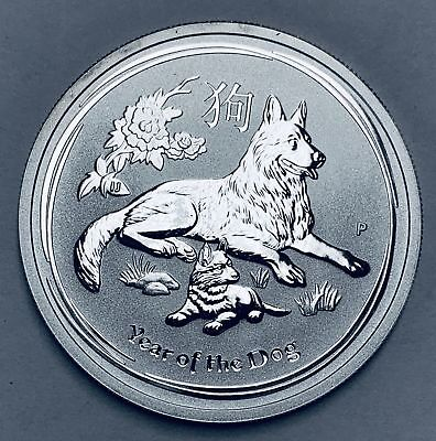 2018-P 50c Australia Lunar Year of the Dog 1/2 oz Fine Silver BU