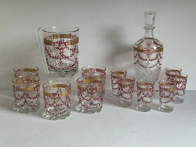 19916b665089 13pc Vintage CERVE Italy Glass Decanter Tumblers Juice Glasses Etched Gold  Swag
