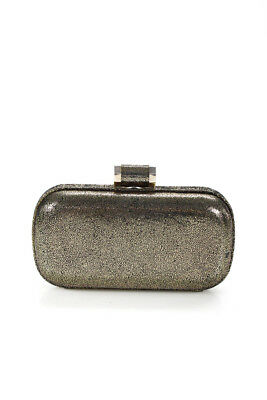 db76db5bad9c Halston Heritage Speckled Oblong Suede Minaudiere Clutch Bag Gold Tone  90077903