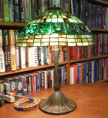 Antique Tiffany Reproduction Turtleback Belt Lamp Bradley & Hubbard Handel Style