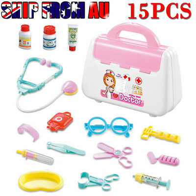 15Pcs Doctor Medical Toy Set Nurse Carry Box Kid Role Play Pretend Kit Case